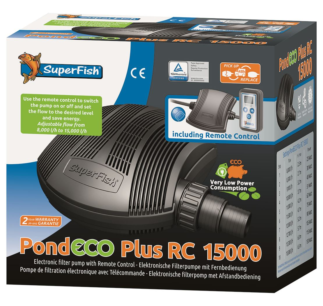 vijverpomp superfish pond eco plus rc15000