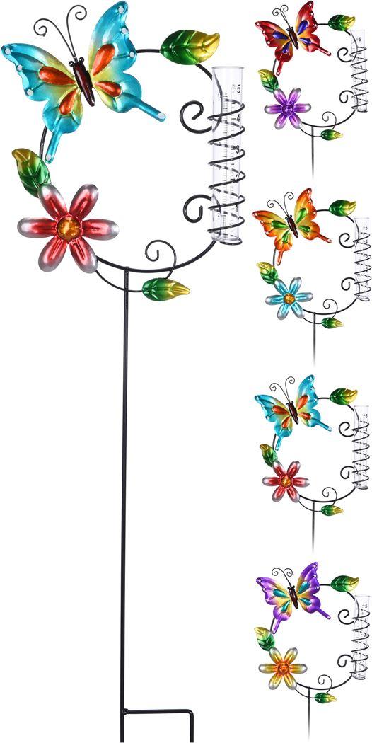 vlinder/bloem regenmeter stok (ass.)