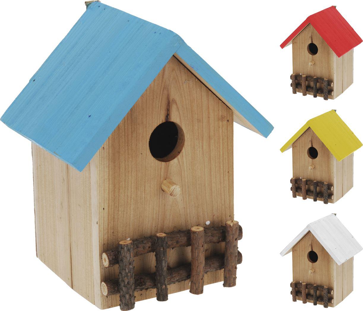 vogelhuis hout naturel (4 kleuren ass.)