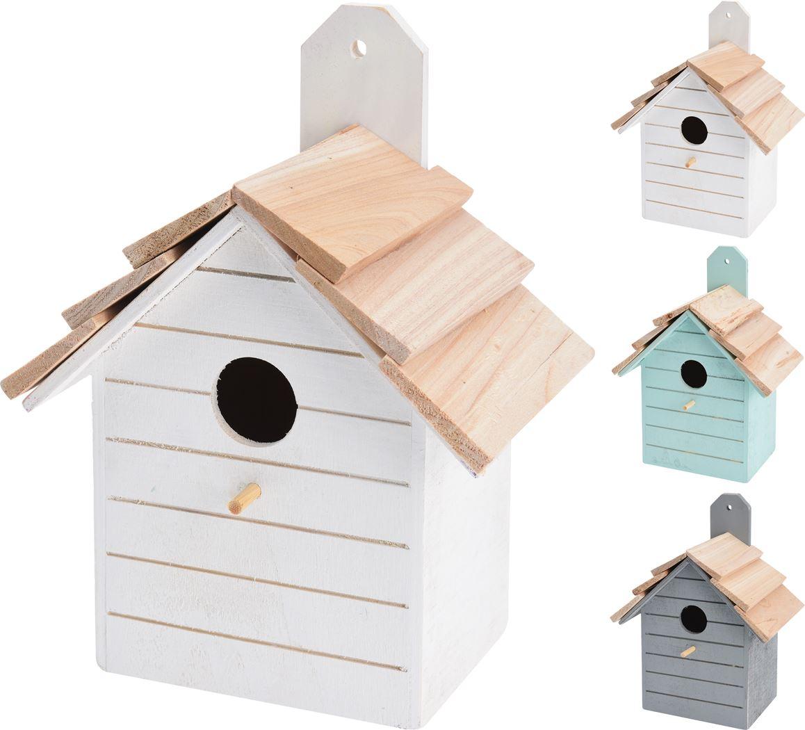 vogelhuisje hout (3 kleuren ass.)