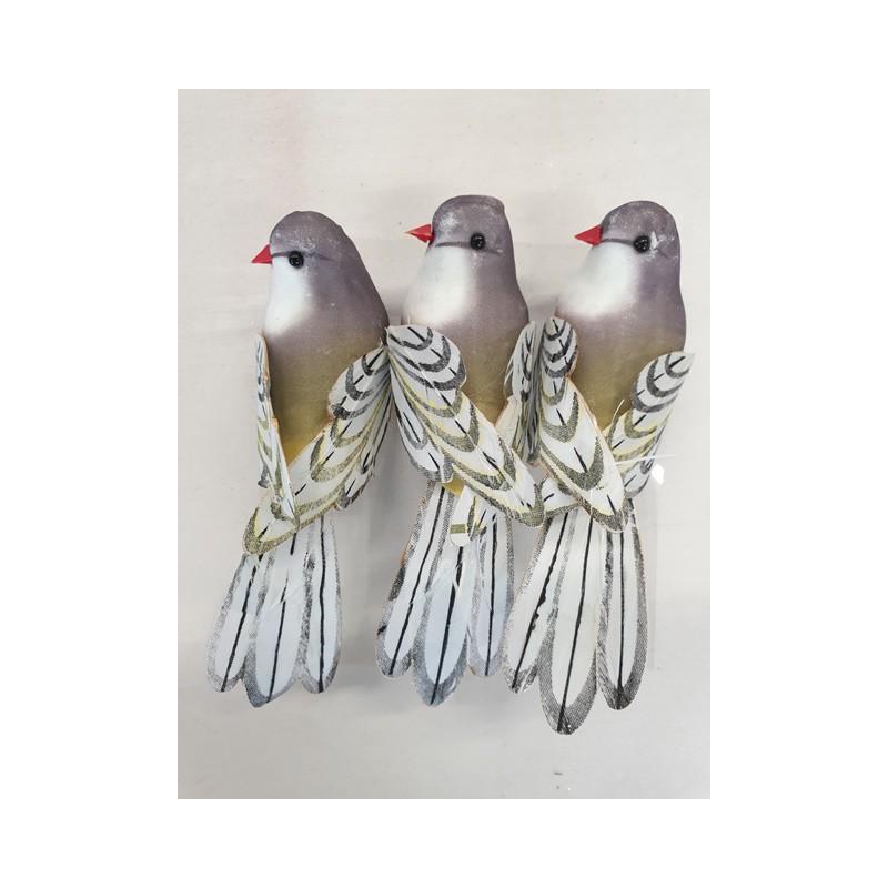 cp vogels naturel grijs met clip (3sts)