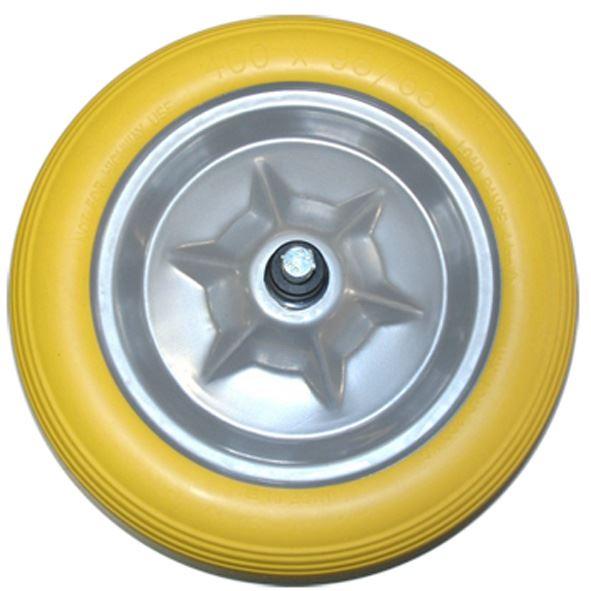 volle pu schuimband geel op grijze kunststof velg