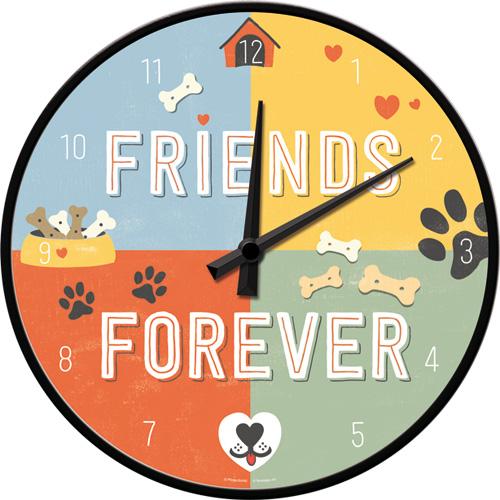 wall clock pfotenschild - friends forever