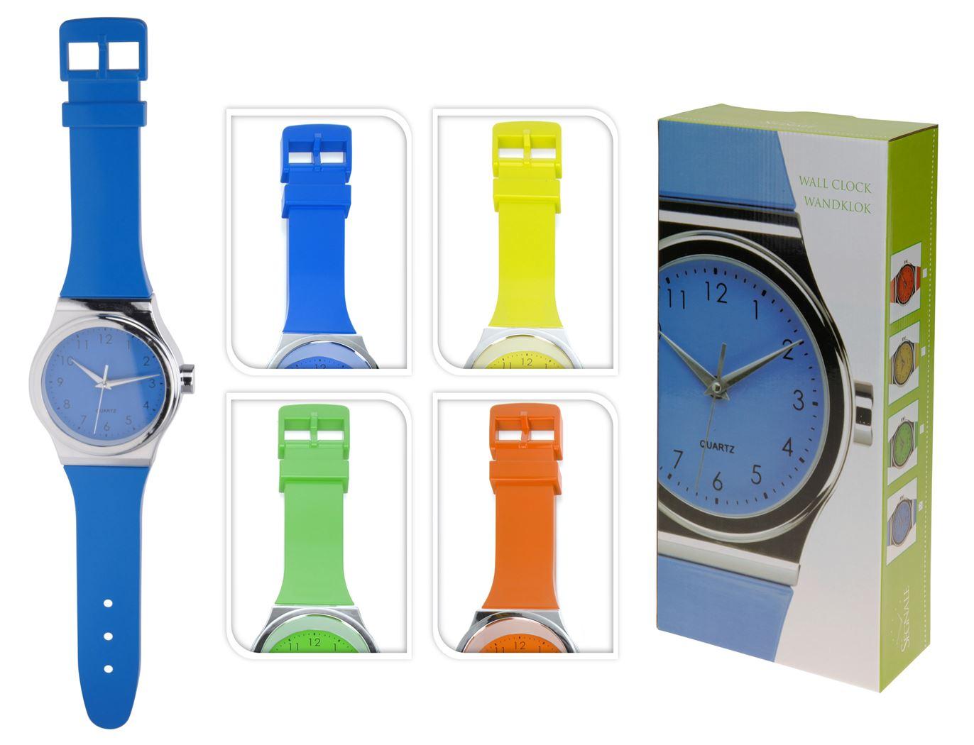 wandklok horloge (4 kleuren ass.)