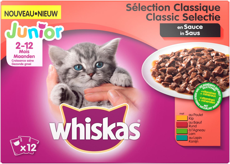 whiskas pouch 12-pack junior vlees saus