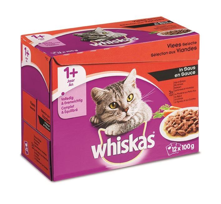 whiskas pouch 12-pack adult vlees groenten in saus