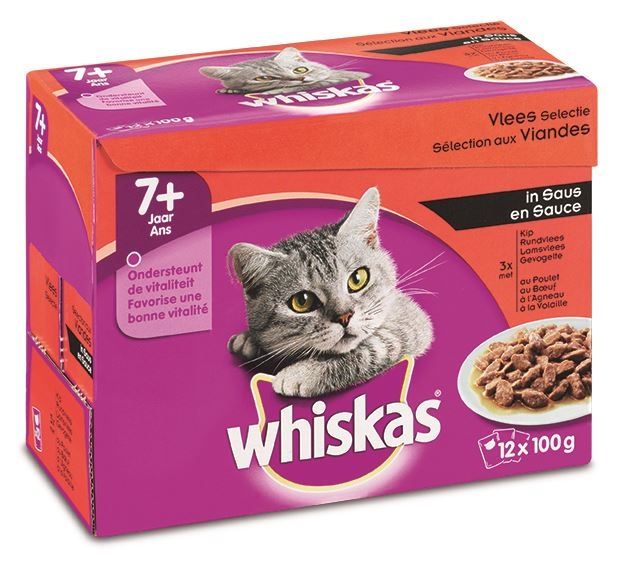 whiskas pouch 12-pack senior vlees in saus