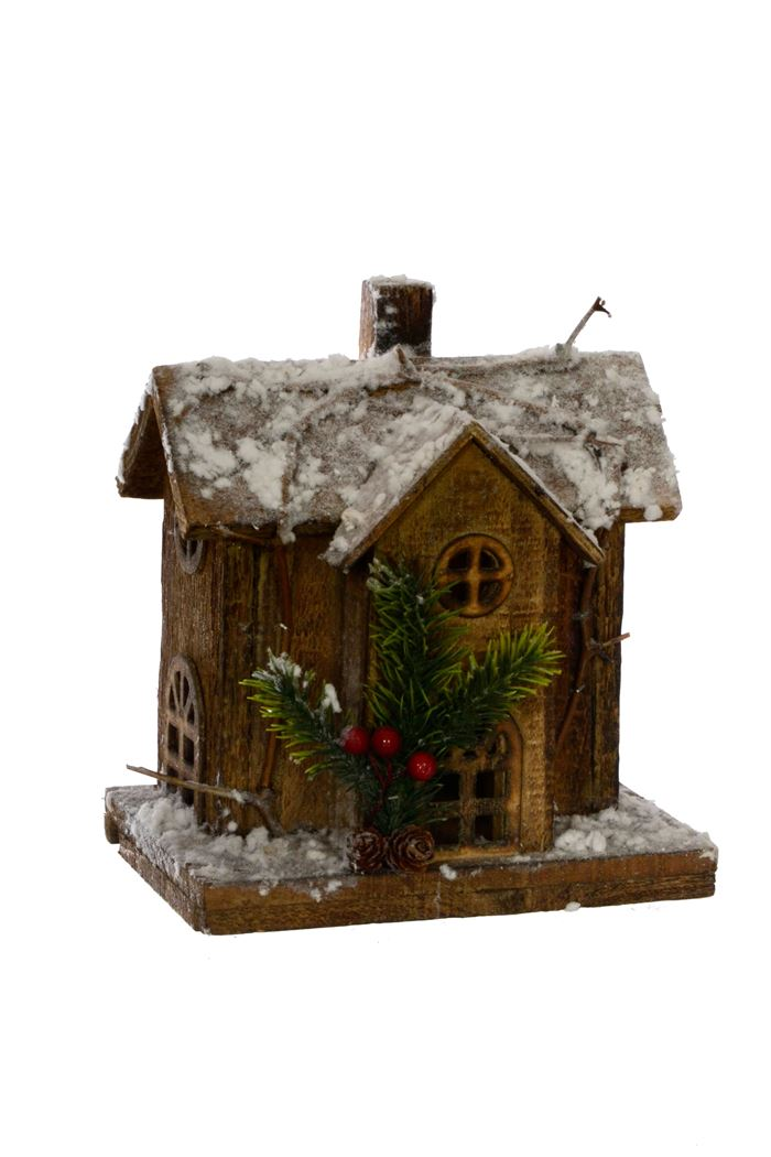 wooden house with snow with led light natural