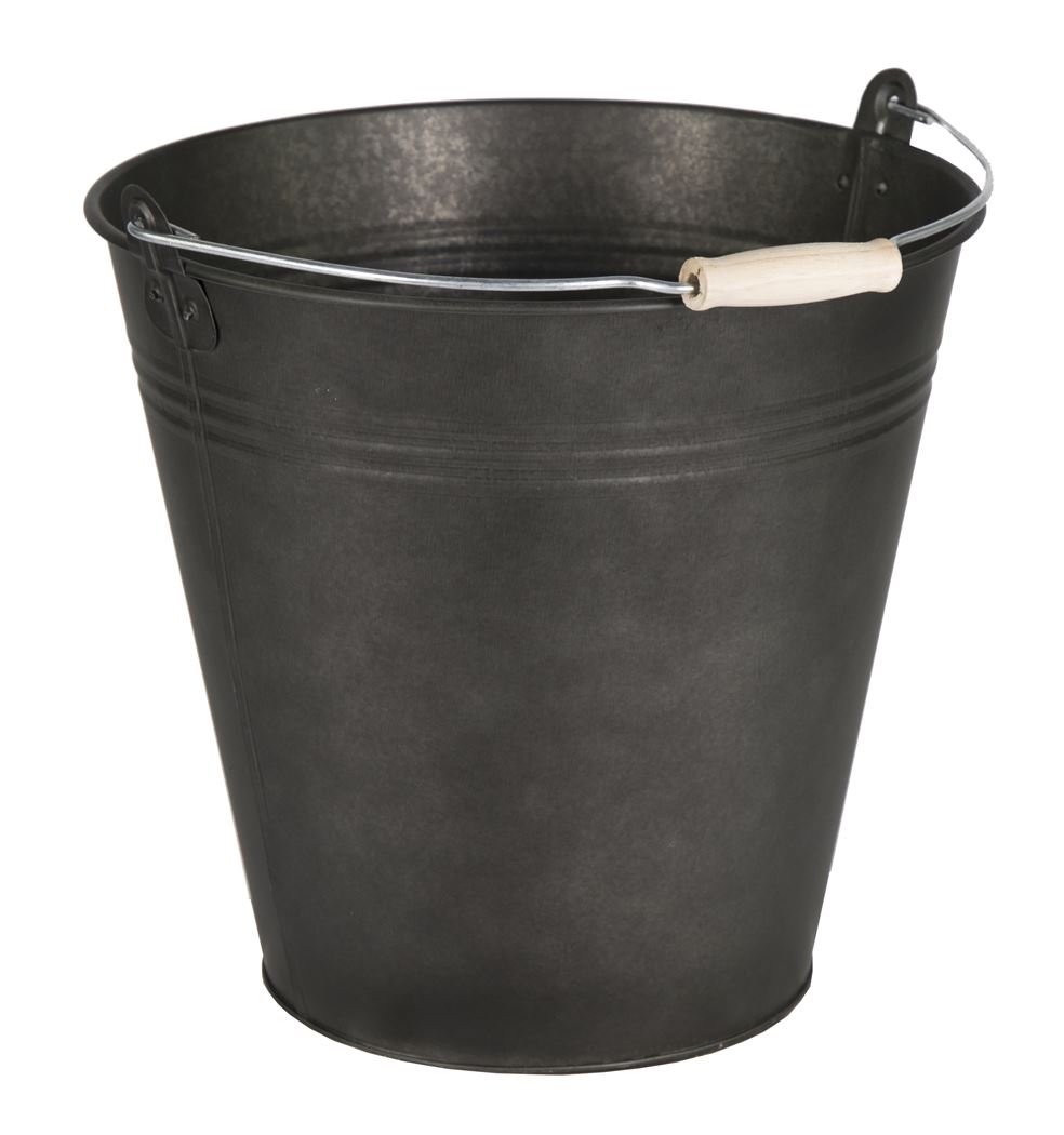 zinc vintage black bucket wooden handle