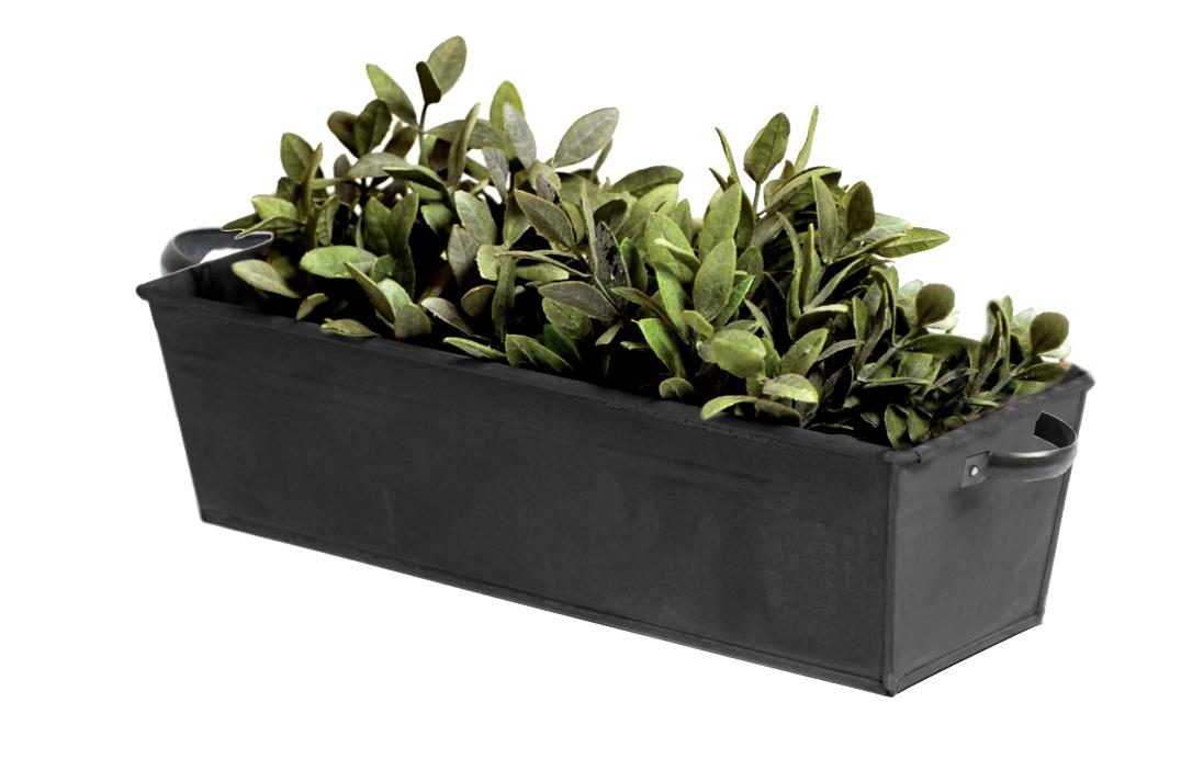 zinc vintage black recta tray w/handle