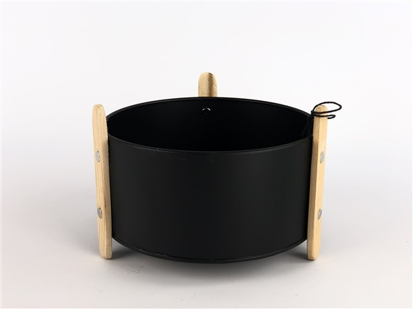 zink planter with wooden feet black