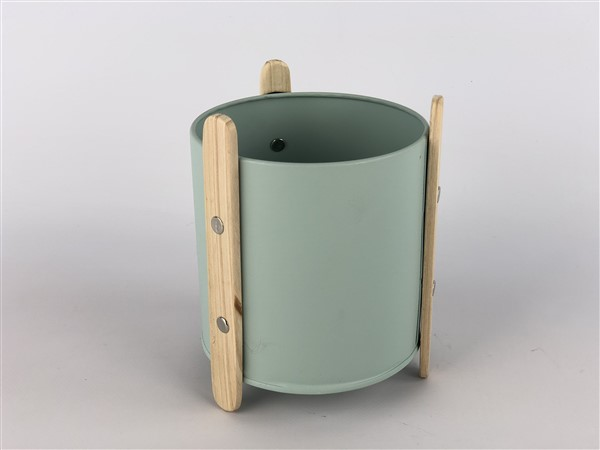 zink planter with wooden feet green