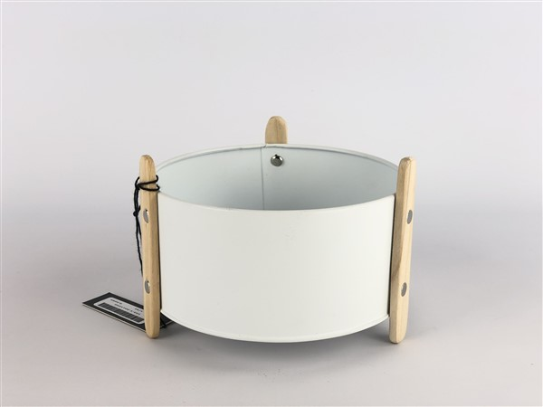 zink planter with wooden feet white