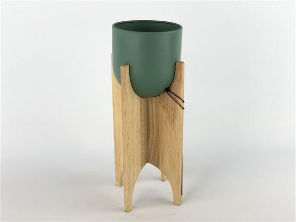 zink pot in wooden frame green
