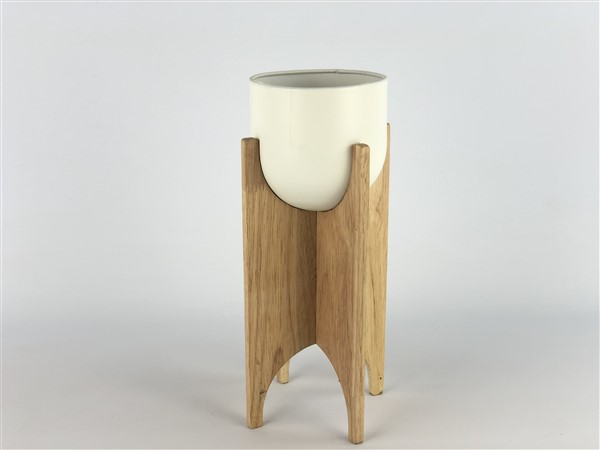 zink pot in wooden frame white